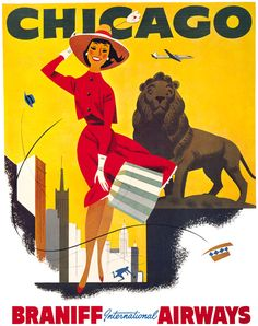 This vintage Chicago travel poster was issued circa 1950s. Chicago - Braniff International Airways. A woman holds her hat and skirt while fighting the windy city of Chicago.
