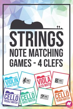 Orchestra Note Identification - Memory & Matching Card Game - Clefs for Strings Music Education Activities, Teacher Resources, Teaching Ideas, Elementary Music, Elementary Education, Teaching Orchestra, Middle School Music, Reading Music, Matching Cards