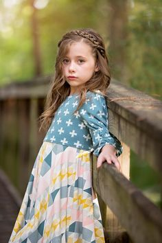 Dress made by Because of Brenna; Fabric by Art Gallery Fabrics Step By Step Instructions, Sewing Hacks, Wardrobe Staples, Knit Dress, Dress Making, Bodice, Kids Outfits, High Neck Dress, Kids Clothing