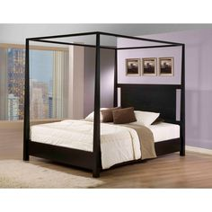 This beautiful king-sized canopy bed has a contemporary look that is eye-catching and unique. The blocked style is a real attention grabber thanks to its bold look. The black finish will match with many other pieces of furniture easily.