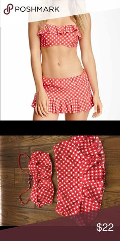2 piece bathing suit Caloha Bandeau Frill Bra and Island skirted brief. Size S/P, EU 38, UK/ R-U 10.  Will sell separately (top $ 15, bottom $10) or together for $22. Captiva Swim Bikinis
