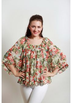 100% Polyester Georgette Printed Top Beautiful trendy tops and tunics on meiro