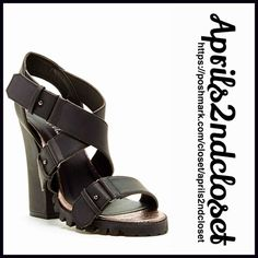 """SANDALS High Heels Metallic Footbed Black Chunky Heel Ankle Strap Sandal Metallic Footbed Retail: $65 NEW WITH TAGS   * Open toe & strappy crisscross vamp  * Approx. 4.5"""" heel  * Metallic footbed, chunky lug sole heel; An urban gladiator silhouette.   * Ankle strap w/adjustable crisscross vamp  * Silver-tone hardware & mini stud details   * True to size Material: PU Upper & Manmade sole.  Color: Black  Item:93900  No Trades ✅ Offers Considered*✅ *Please use the blue 'offer' button to submit…"""