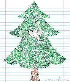Hand-Drawn Sketchy Doodle Henna Paisley Christmas Tree with Dove. Vector Illustration. Design Elements on White Lined Paper Background. Perfect for Christmas and winter holiday projects!