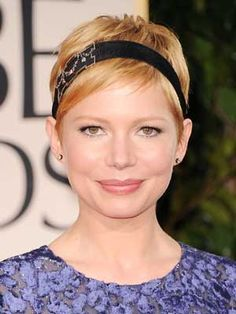 Blonde Pixie Headband is Michelle Williams' hair from the Golden Globes