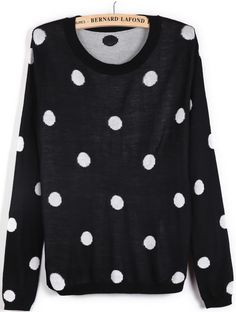 Black Long Sleeve Polka Dot Slim Sweater - Sheinside.com