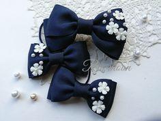 Ribbon Art, Ribbon Hair Bows, Diy Ribbon, Ribbon Crafts, Fabric Flower Headbands, Fabric Flowers, Barrettes, Hairbows, Bowtie Pattern