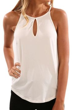 4b9e88e4ef Pure Color Simple Spaghetti Straps Cut Out Tank Top #girlstyle #shopaholic # model #