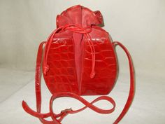 Rare vintage French 1960's red crocodile leather and suede bucket handbag by VintageHandbagDreams on Etsy