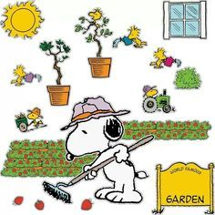 Snoopy gardening wall cutout display...we have this at the library :)