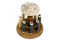 Shabby Chic Wooden Spool & Thread Bobbins Needles Pin Cushion Holder Sewing Home Tailors Craft Decor