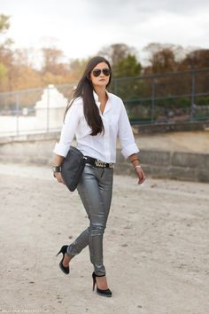 Miss Rich: GET THE LOOK: METALLIC JEANS