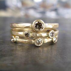 Three Stone White Diamond Ring in Recycled 14k Gold. $825.00, via Etsy.