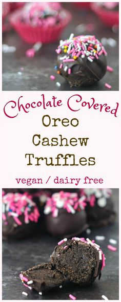 Chocolate Covered Oreo Cashew Truffles @spabettie #vegan #valentines #chocolate #truffle #candy
