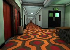 Production Designer, Roy Walker's Geometric carpet on set, at Elstree Studios, of an upstairs corridor near to the Colorado Lounge of The Overlook Hotel in Stanley Kubrick's 1980 film The Shining partly based on Stephen King's novel (constructed/filmed '78/'79)