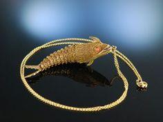 Vintage Funky Fish Pendant! Beweglicher Fisch Anhänger mit Kette Silber 925 vergoldet Koralle, China um 1930