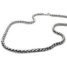 """Celtic Style Men's Necklace in Polished Stainless Steel - Intricately woven in a Celtic pattern, the polished links of this 24"""" men's necklace are reminiscent of braiding in an Irish wool sweater. Made from durable stainless steel, this ruggedly handsome pattern is a popular trend in men's necklaces. To learn more visit us at - http://www.justmensrings.com/"""