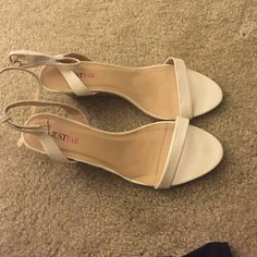 JustFab Wedge Sandals Never worn. White strappy sandals. 2 1/2 inch wedge. JustFab Shoes Wedges