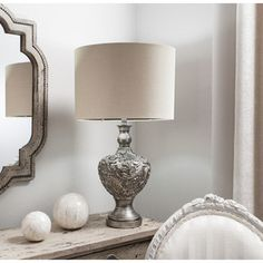 Modish Living's Pomezia Table Lamp is all about sophistaction and glamour. The stunning urn shaped base has wonderful decoration which gives the lamp an antique finish. Nightstand Lamp, Bedside Table Lamps, Silver Table Lamps, Large Lamps, Beautiful Bedrooms, Ceiling Lamp, Living Room Designs, Lighting, Home Decor