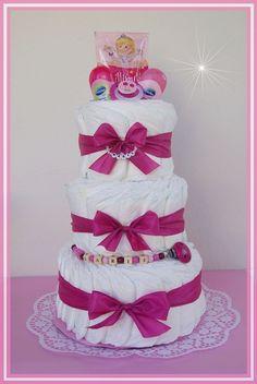 Windeltorte pink Schnullerkette Windeltorte von Geschenke-Eckle auf DaWanda.com