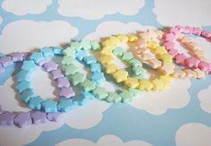 Fairy Kei Pastel Candy Stars Beaded Bracelet by wearitcuter