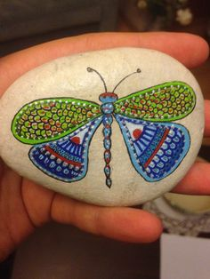 Hand Painted Stone Painting butterfly on by CreativeShopIdeas