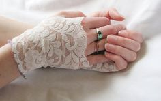 Fingerless Gloves lvory Lace Bridal Gloves by seamstressbythesea