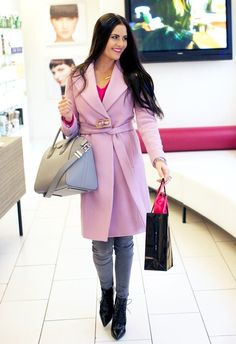 kerastase (J Crew belted trench coat in lilac + Autumn Cashmere 'shaker stitch' v-neck sweater + Paige Denim 'verdugo' skinny jeans in silvie + Givenchy bag) Pink Peonies, Paige Denim, Grey Pants, Trench, Givenchy, Lilac, J Crew, Cashmere, Wrap Dress
