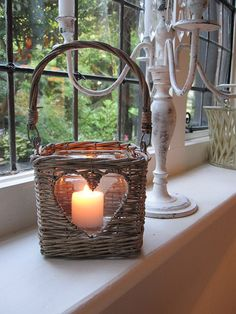 The candle looks lovely in heart shaped opening in this basket. Country Cream - Soft Furnishings & Home Accessories