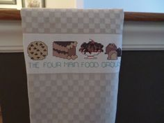 The Four Main Food Groups  - Cross Stitch Kitchen/Tea Towel/Housewarming Gift by CrossStitchbyChris on Etsy