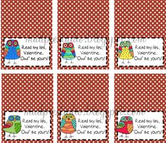 Valentines Day Bag Topper Labels Digital File by themudpiestudio - Read my Lips Valentine, Owl be Yours!