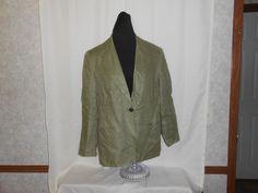 TALBOTS Suit Blazer 100% IRISH LINEN Green Women Size 10 Lined Long Sleeve  #Talbots #Blazer