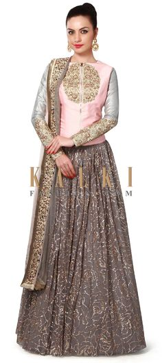 Buy Online from the link below. We ship worldwide (Free Shipping over US$100). Product SKU - 312928. Product Price - $849.00. Product link - http://www.kalkifashion.com/grey-and-peach-lehenga-adorn-in-sequin-and-zardosi-embroidery-only-on-kalki.html