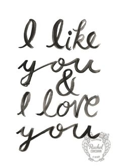 Typographic Print  Hand Lettering  I LIKE YOU   by Rachillustrates, €10.00