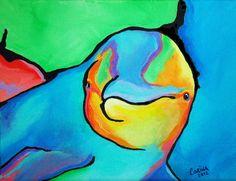 Dolphin++Wildlife+Art+Original+Acrylic+by+CorinaStMartinArt,+$45.00