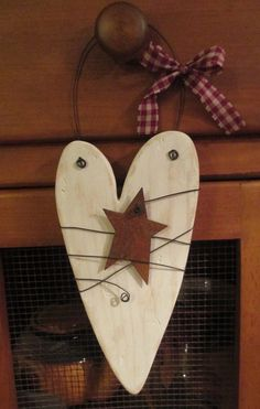 Rustic White Wooden Heart Door Hanger with Rusty Tin by SewArtzy