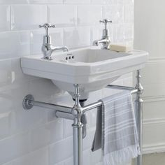 The Burlington Edwardian Cloakroom Basin & Wash Stand makes a beautiful addition to any cloakroom bathroom. Complete the look with matching basin taps & bottle trap. Cloakroom Basin, Bathroom Basin, Master Bathroom, Sink Faucets, Victorian Bathroom Sinks, 1930s Bathroom, Bathroom Tiling, Bathroom Blinds, Family Bathroom