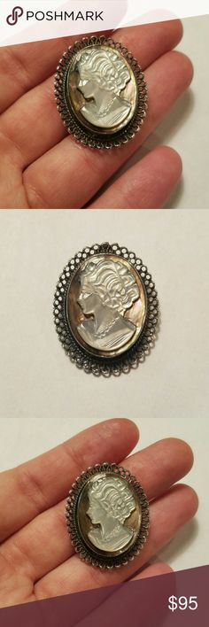 """*RARE* Vintage Beaucraft Sterling Cameo Pendant This company is one of the major U.S. manufacturers of silver jewelry. Established in 1946, after WWII in Providence, R.I. The company operated until 2007 when it was bought out by Amsco Ltd. Much of the Beaucraft silver jewelry dates from the 1950s and 1960s. Pieces are signed with the letter """"B"""", """"Beau"""", or """"Beaucraft"""". This one is marked """"Beau Sterling"""". So beautiful & such a unique find! Vintage Jewelry"""