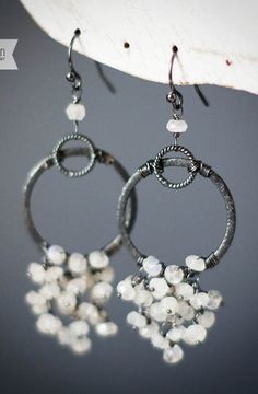 Oxidized Silver Moonstone Cluster Earring