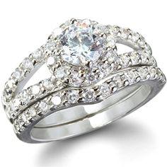 Jolie's Round Cut Imitation Diamond Engagement Ring Set