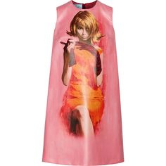 Prada Printed coated-cotton mini dress (€925) ❤ liked on Polyvore featuring dresses, prada dresses, red dress, wet look dress, shiny dress and print shift dress