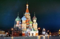 Rússia Moscovo Templos Noite Revérbero  Cidades