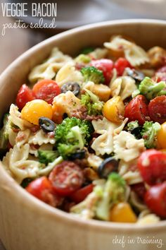 Veggie Bacon Pasta Salad from chef-in-training.com …This is a delicious and colorful side dish that whips up in no time at all!