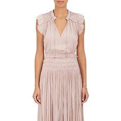 Ulla Johnson Women's Ren Tech-Satin Cap-Sleeve Top ($275) ❤ liked on Polyvore featuring tops, light purple, light pink top, ulla johnson tops, ruffle top, cap sleeve top and satin top