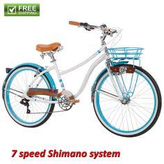 """Beach Cruiser Bike Women's 26"""" White Blue Hybrid Commuter Bicycle Shimano NEW…"""
