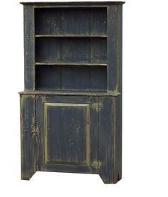 Primitive hutch step back cupboard painted country farmhouse Early American stepback cabinet via Etsy