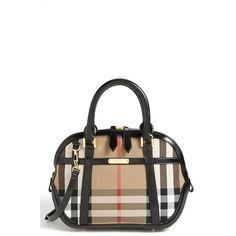 Burberry 'House Check' Crossbody Satchel ($1,395) ❤ liked on Polyvore featuring bags, handbags, сумки, black structured handbag, black crossbody satchel, satchel handbags, black crossbody handbags and black handbags