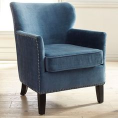 Styling tips for a blue armchair Lyndon Ink Blue Armchair Brown Armchair, Comfy Armchair, Brown Leather Recliner Chair, Swivel Rocker Recliner Chair, Leather Chairs, Chair Cushions, Farmhouse Dining Chairs, White Dining Chairs, Accent Chairs For Living Room