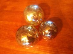 Silver Amber Blown Glass Float / Ball / Orb by MoltenColor on Etsy, $13.00