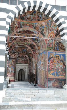 Rila Monestary Fresco/The Monastery of Saint Ivan of Rila near Sophia, Bulgaria, founded in the 10th century.